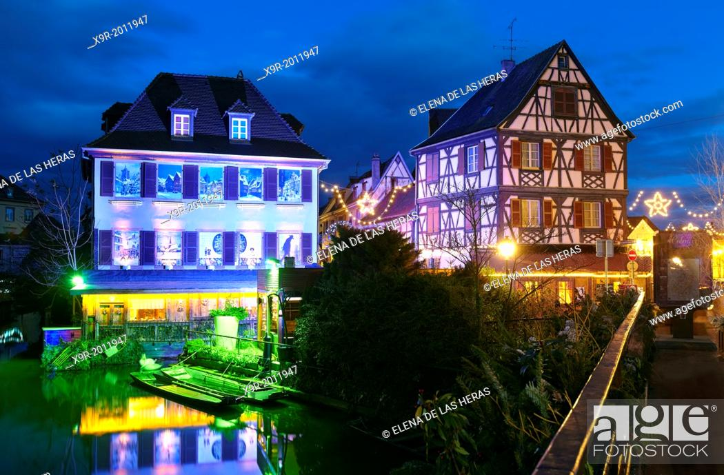 Stock Photo: Christmas decoration by night at the Little Venice. Colmar. Wine route. Haut-Rhin. Alsace. France.