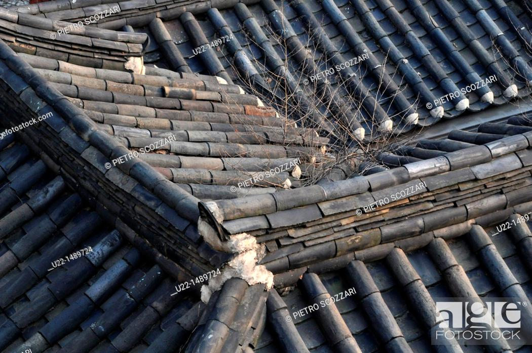Stock Photo: Seoul (South Korea): traditional roofs in the Bukchon neighborhood.