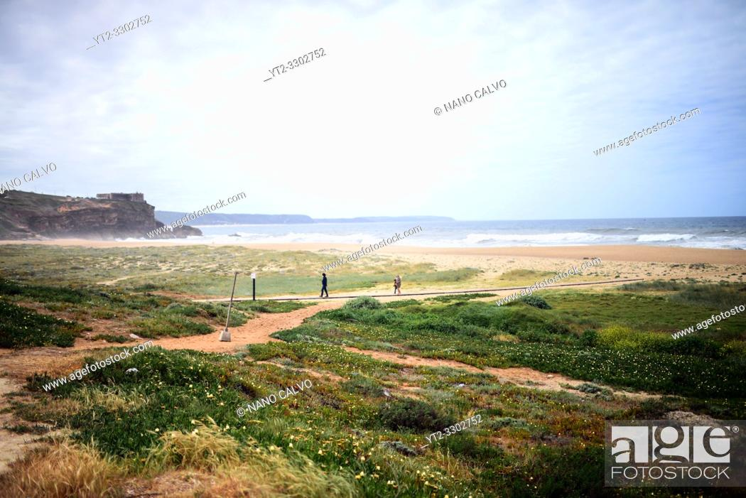 Stock Photo: Praia do Norte (North Beach) in Nazare, Portugal.