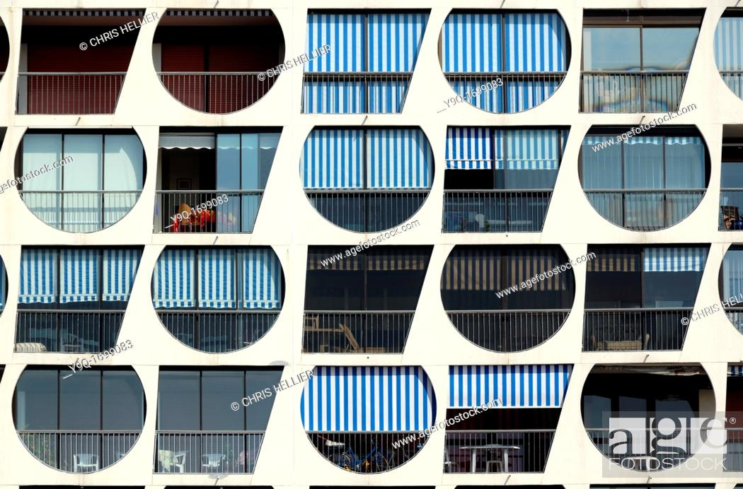 Stock Photo: Window Patterns of Holiday Apartments in La Grande-Motte Holiday Resort Hérault France.