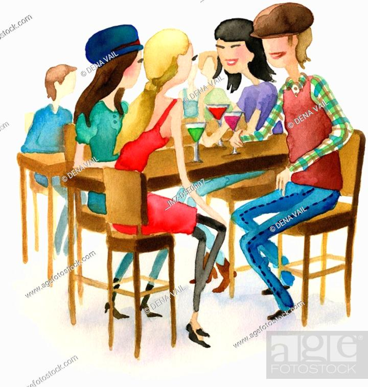 Stock Photo: A watercolor illustration of people at a martini bar.