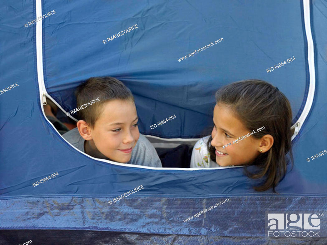 Stock Photo: Kids in a tent.