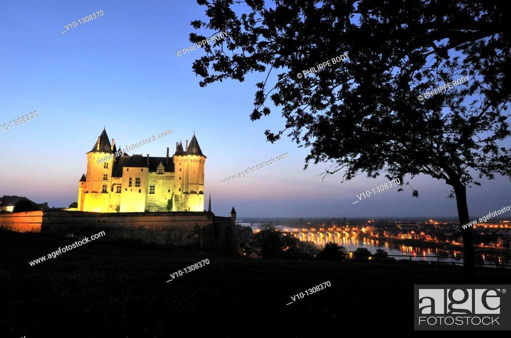Stock Photo: France, Maine et loire, Loire Valley a World Heritage Site of UNESCO, Saumur, castle of Saumur along the Loire river.