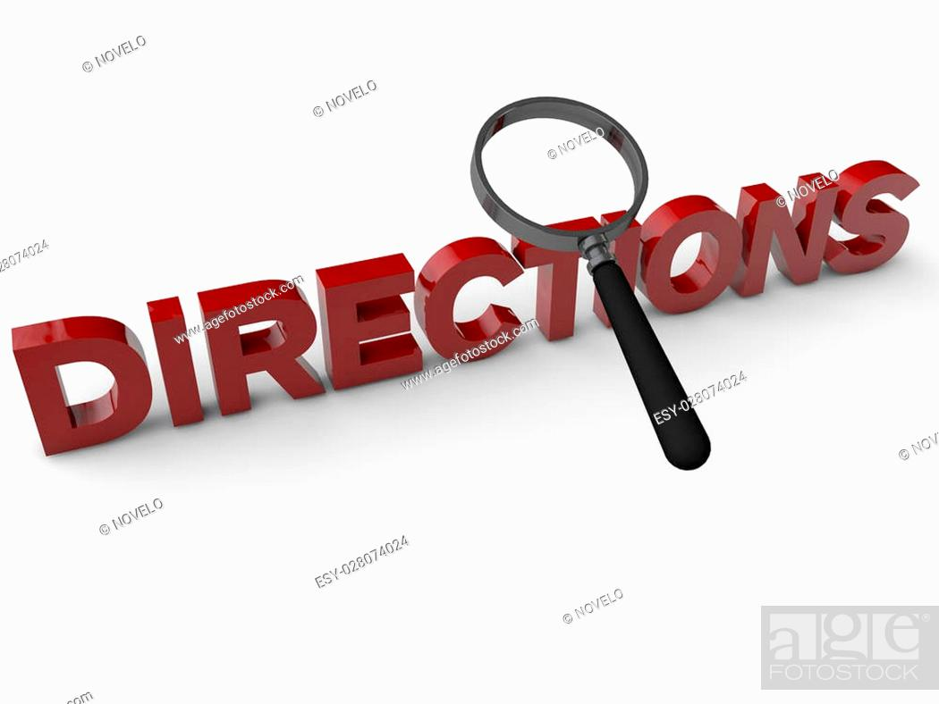 Stock Photo: Directions with magnifier over white background.