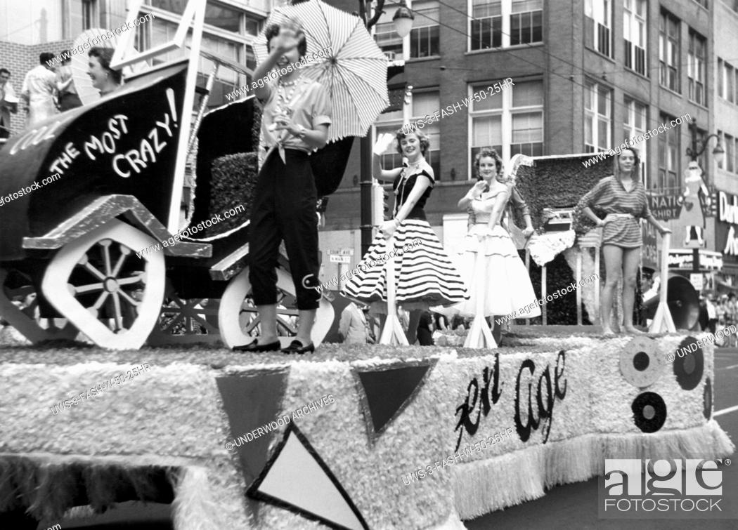 Stock Photo: Memphis, Tennessee: 1955 A teen-age float during the Fashion Parade at the Memphis Cotton Carnival.