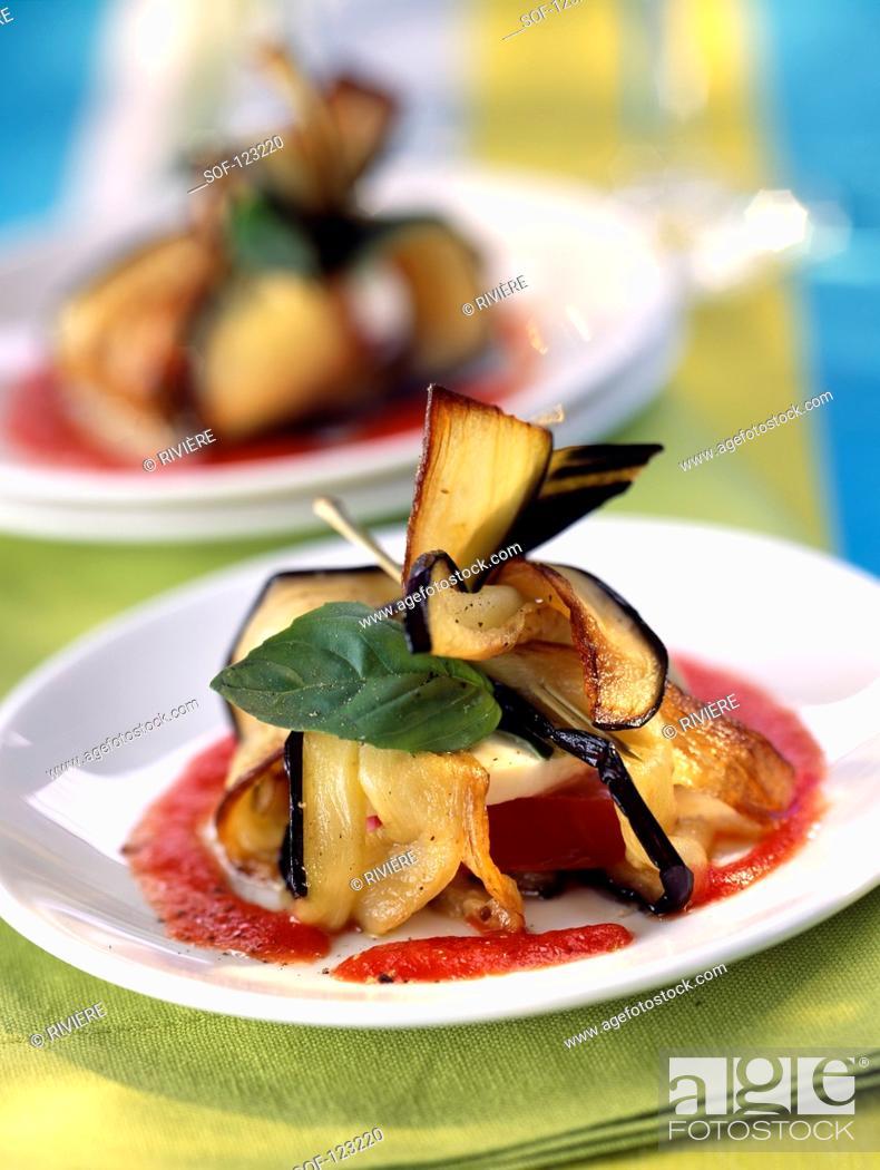 Stock Photo: Eggplant and goat's cheese Aumoniere.
