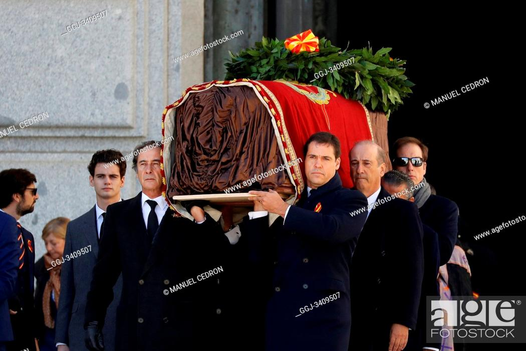 Stock Photo: The family of Dictator attends to the Exhumation of the body of Francisco Franco at Catholic Basilica of the Valley of the Fallen on October 24.
