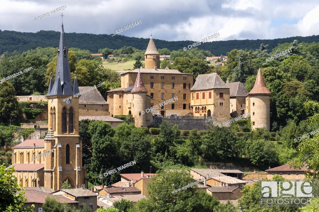 Stock Photo: Jarnioux Castle Jarnioux Rhône Auvergne-Rhône-Alpes France.