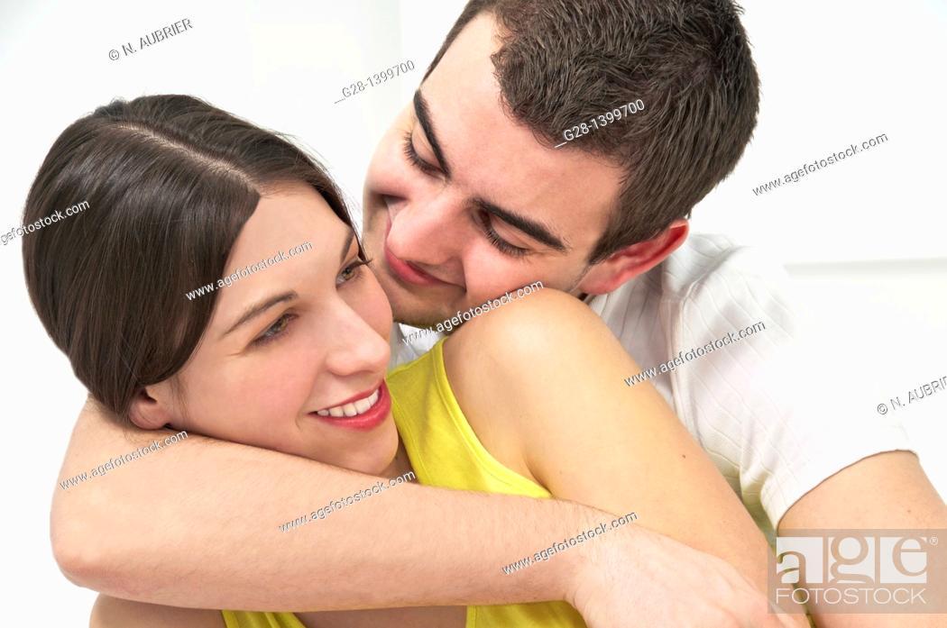 Stock Photo: Portrait of young couple happy couple.