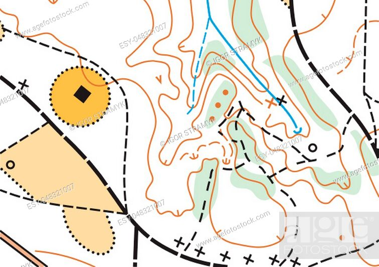 Stock Photo: Detailed fragment of color abstract vector topographic map.