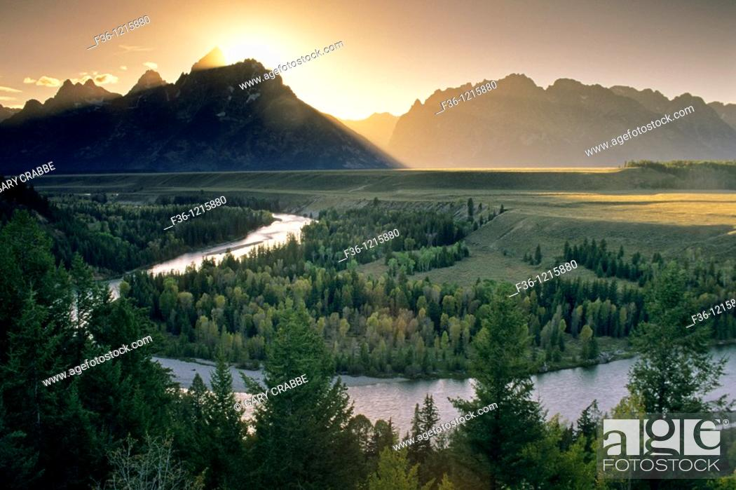 Stock Photo: Sunset over the Grand Teton mountain from the Snake River Overlook, Grand Teton National Park, WYOMING.