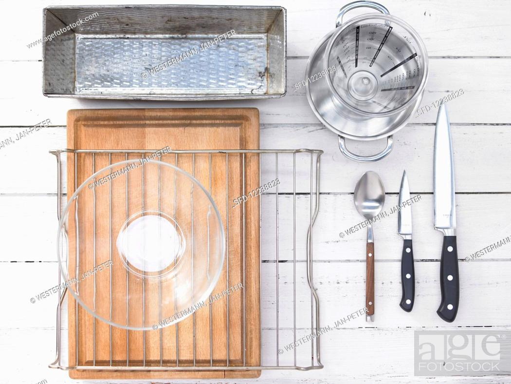 Stock Photo: Kitchen appliances needed for baking a Mexican corn bread.