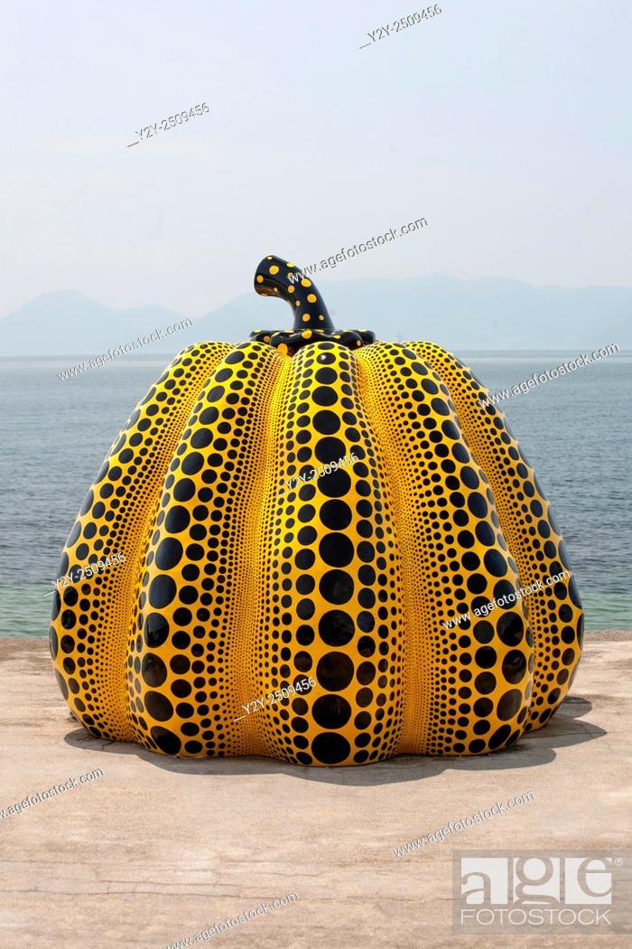 a pumpkin sculpture by the avant garde octogenarian japanese artist