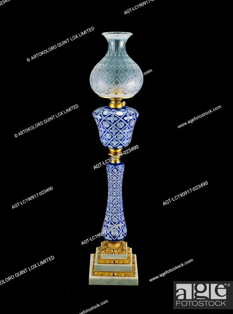 Stock Photo: Double-Plated Lamp, c. 1865, Boston and Sandwich Glass Company, American, 1825–1888, Sandwich, Massachusetts, Sandwich, Cobalt blue, opaque white.