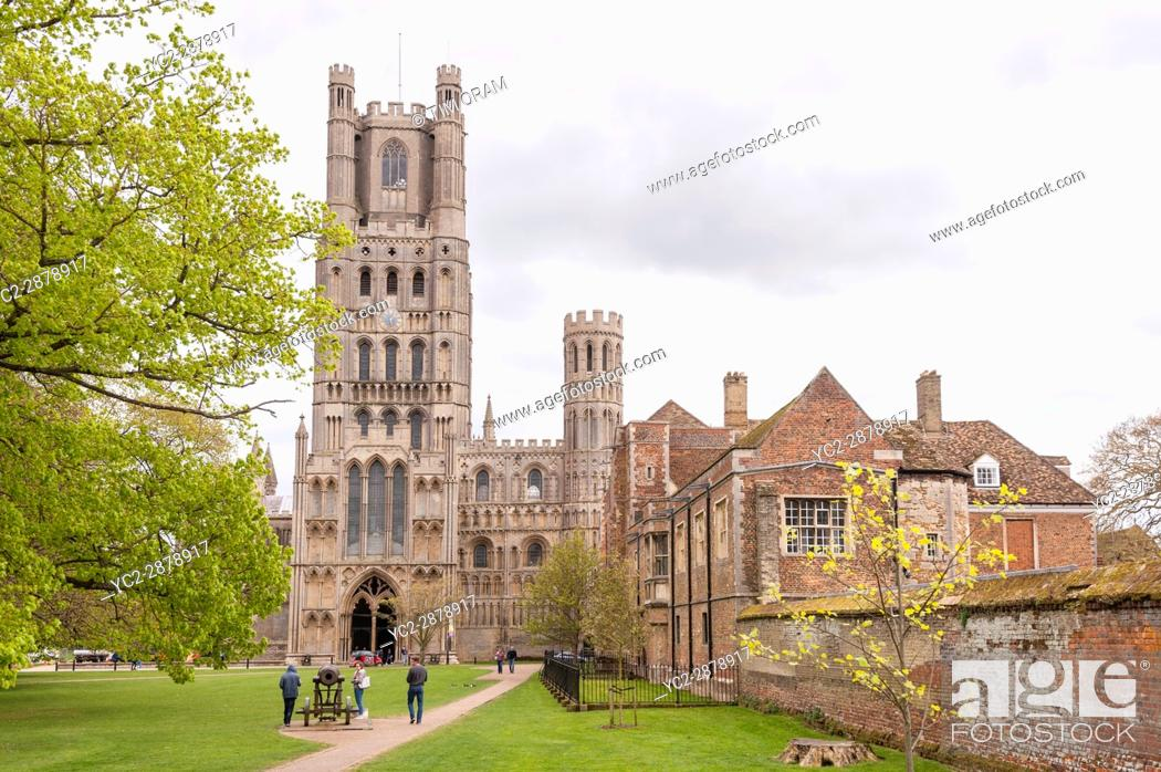 Stock Photo: Ely Cathedral in Ely , Cambridgeshire , England , Britain , Uk.