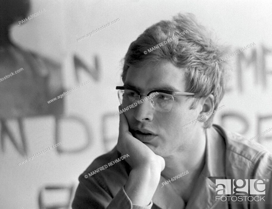 Stock Photo: SDS chairman Karl-Dietrich Wolff, pictured during the preparations for actions against the emergency law in Frankfurt am Main on 13 May 1968.