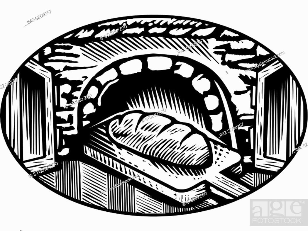 Photo de stock: Cartoon drawing of an oven baked bread in black and white.