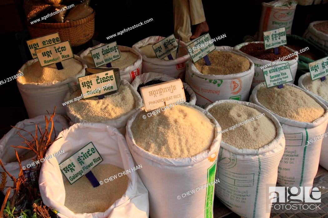 Stock Photo: Rice, Jasmine Rice and Food in the Market, siem reap, combodia.