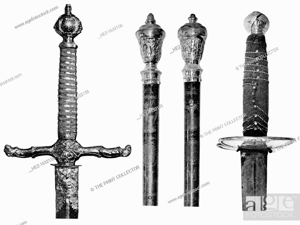 Liverpool's swords and wooden staves, 1910  From left to