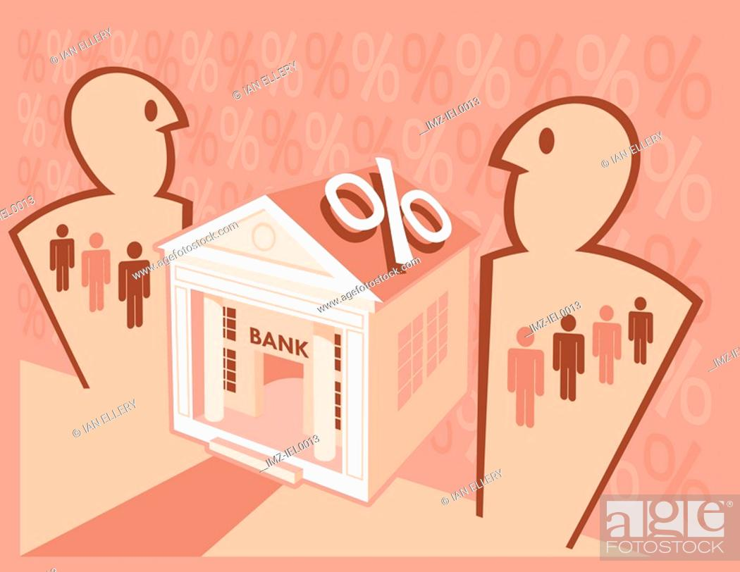 Stock Photo: A graphical illustration centered around a bank.