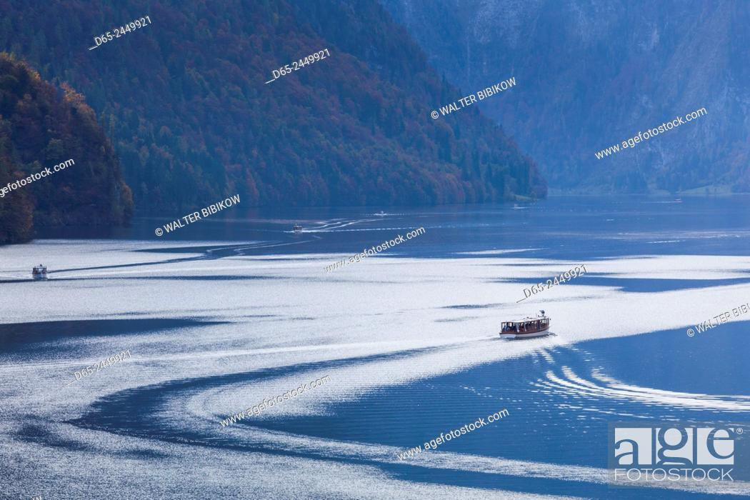 Stock Photo: Germany, Bavaria, Konigsee, electrically powered lake tour boats, fall.