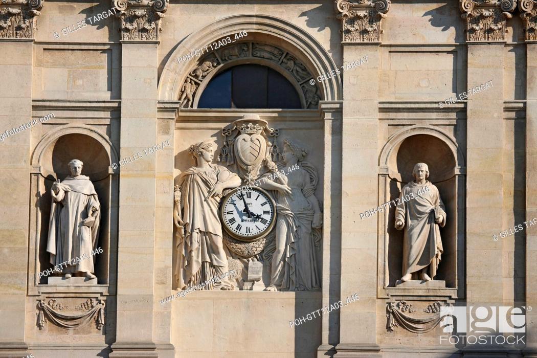 Stock Photo: France, ile de france, paris 5e arrondissement, boulevard saint michel, universite de la sorbonne, chapelle, dome, sculptures, horloge, facade.
