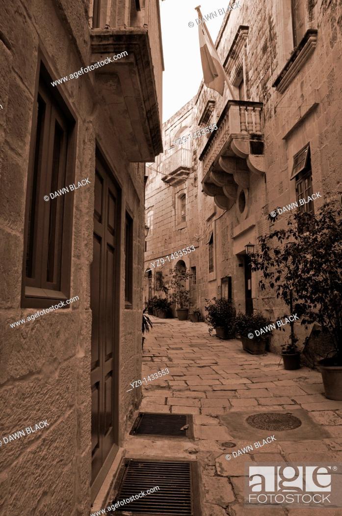 Stock Photo: The Auberge Angleterre of the Order of the Knights of St  John on Triq il-Majjistral, Vittoriosa, Malta.