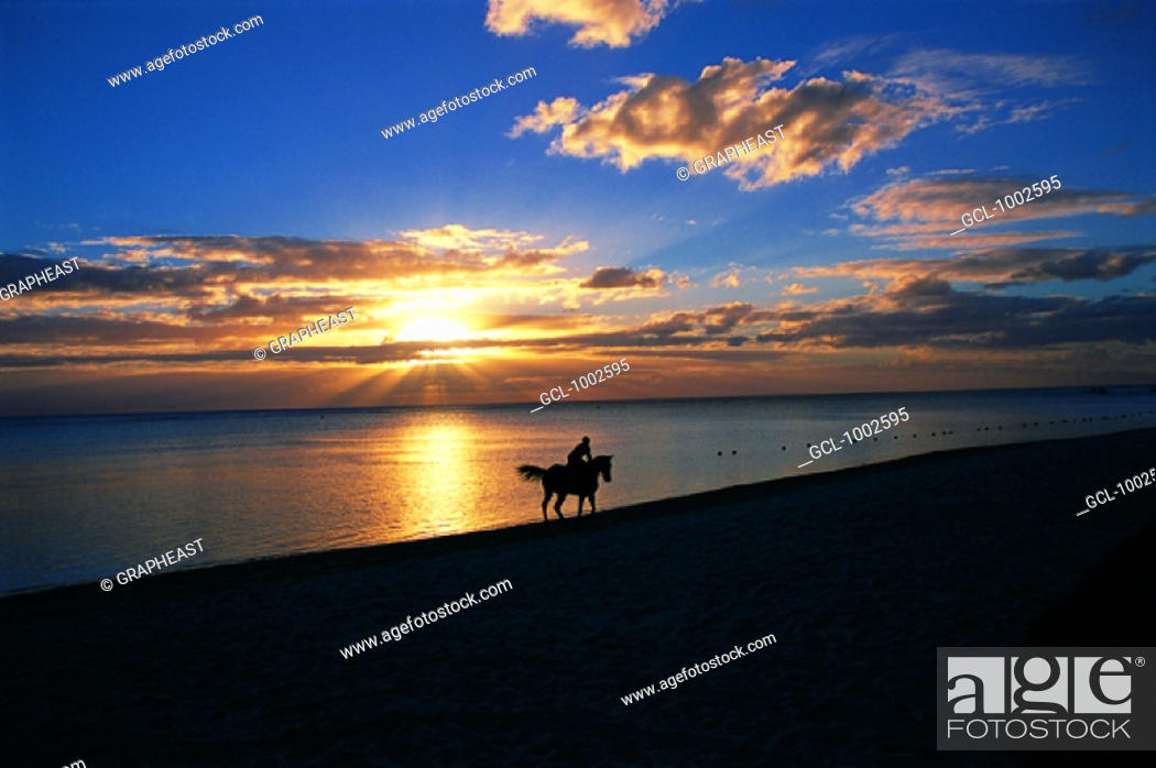 Stock Photo: Horseriding on the beach with sunset, Mauritius.