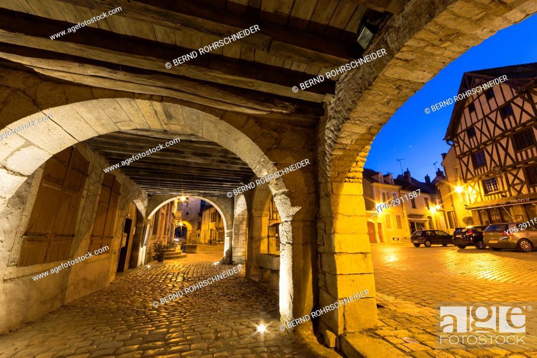 Stock Photo: French village Noyers at night, Yonne, Bourgogne, France.