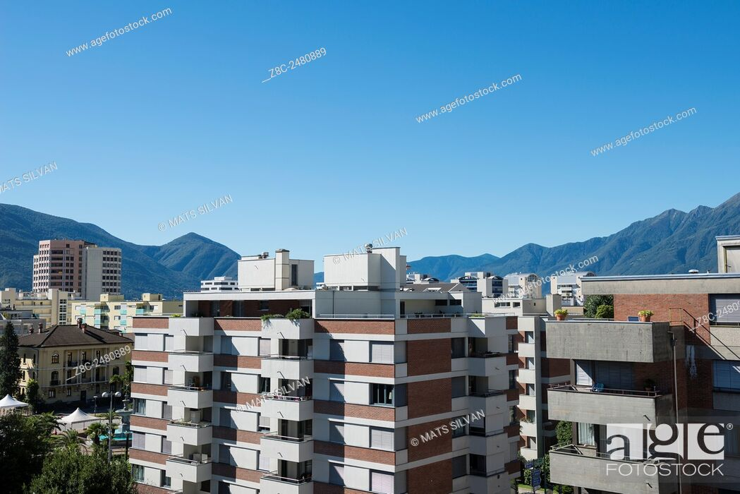 Stock Photo: Building and mountain with blue sky in Locarno, Switzerland.