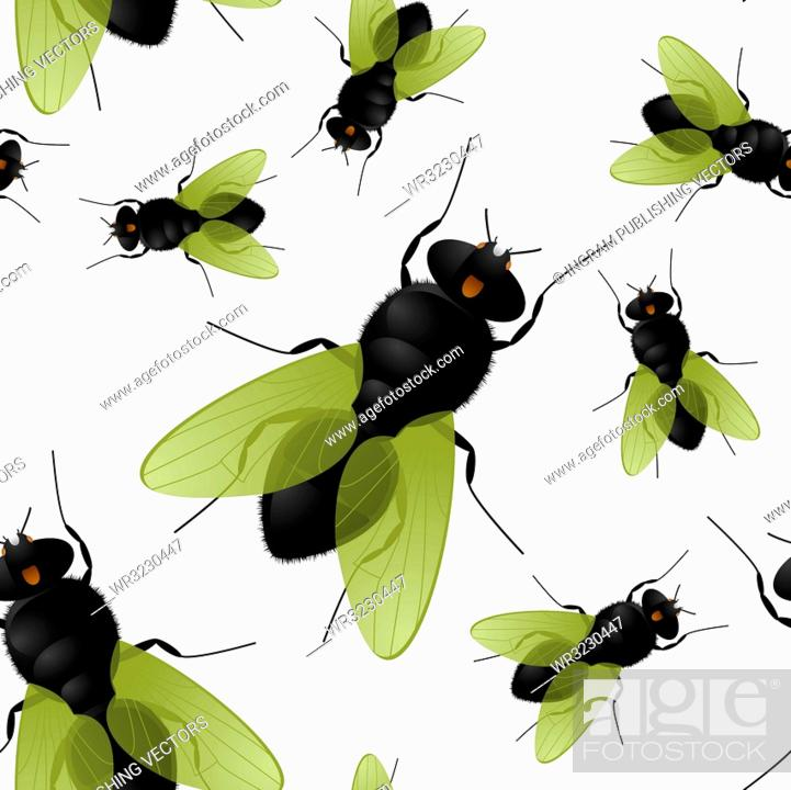 Stock Vector: Seamless fly insect background that repeats without a join.