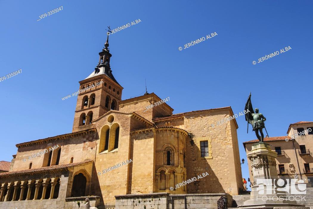Stock Photo: San Martin church, moorish origin with romanesque style, Medina del Campo square. Segovia city. Castilla León, Spain Europe.