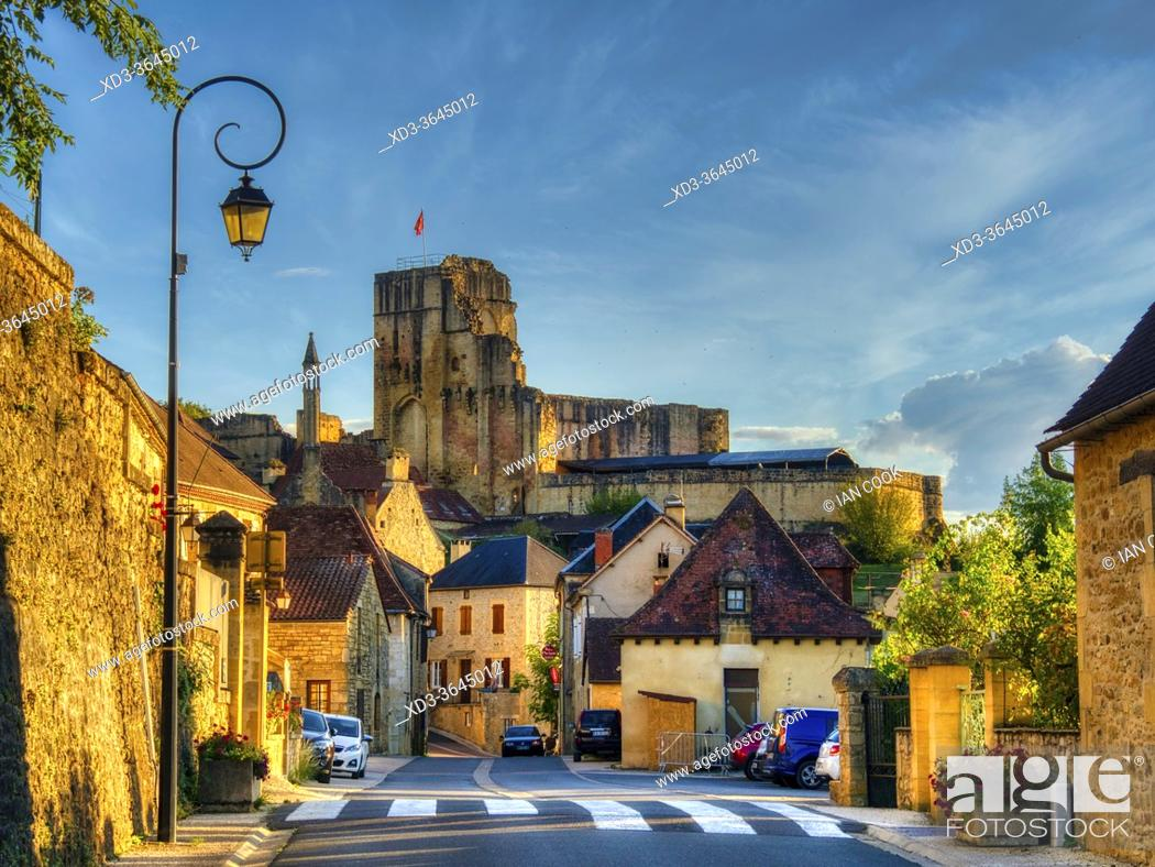 Stock Photo: village with Chateau in evening, Carlux, Dordogne Department, Nouvelle Aquitaine, France.
