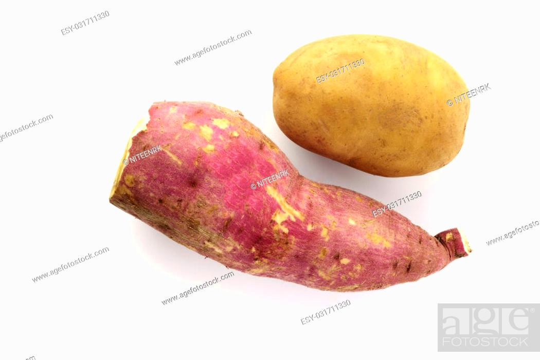 Stock Photo: High resolution image of sweet and brown potato shot in studio over white background.