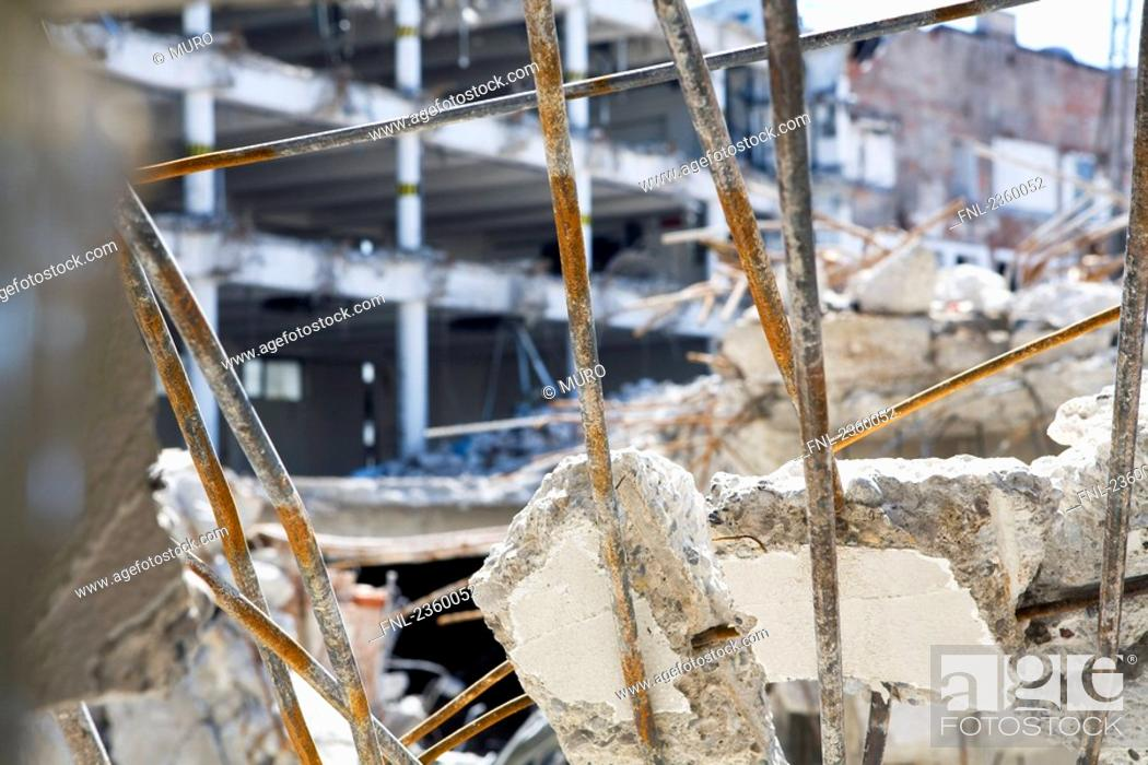Stock Photo: Close-up of debris of demolished building.