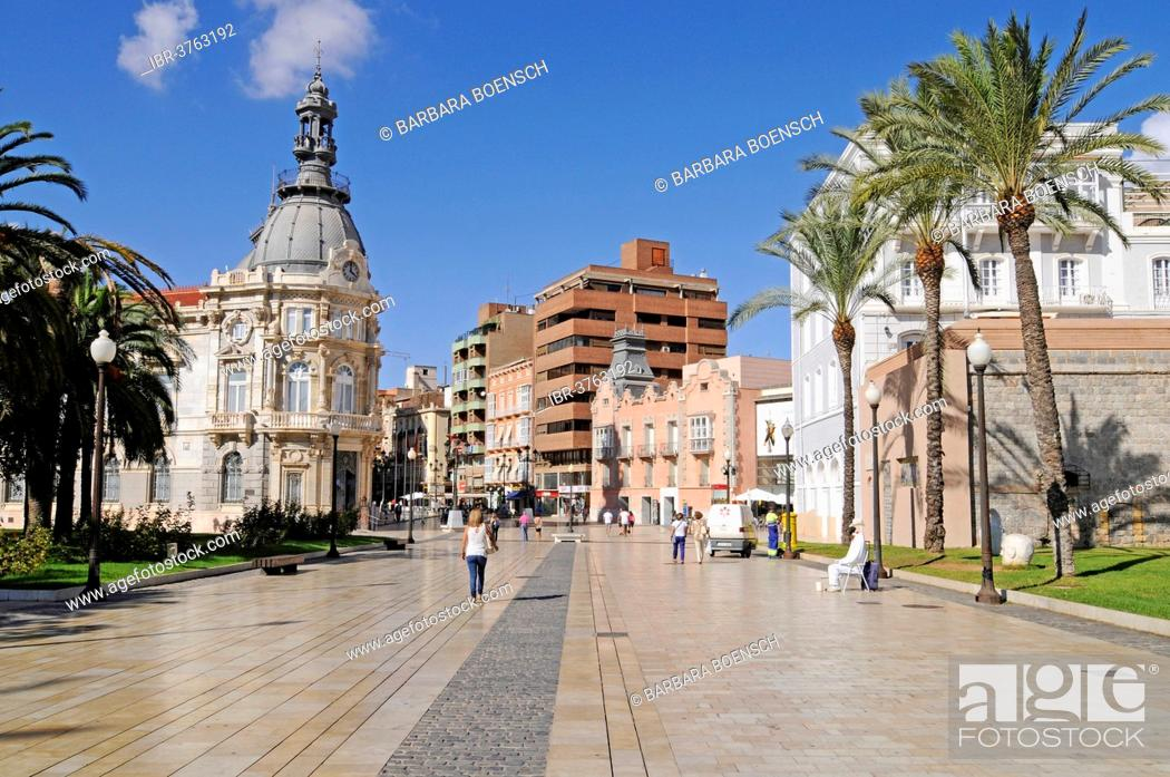 Stock Photo: Town Hall, Town Hall Square, Museo del Teatro Romano, the Roman Theatre Museum, Cartagena, Murcia Region, Spain.