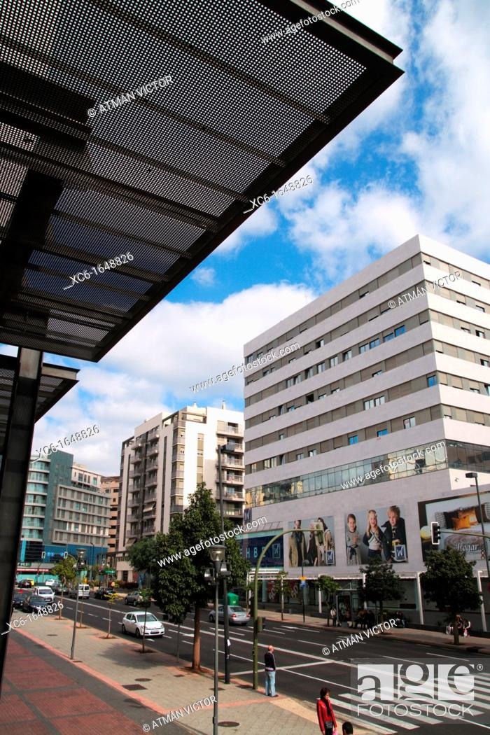 Stock Photo: partial View of street Aurea Diaz Flores. Santa Cruz de Tenerife.