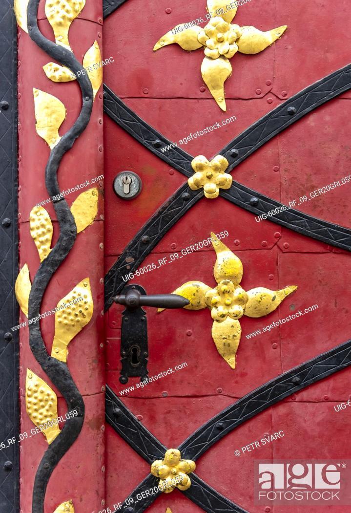 Stock Photo: Close-up of door of Baroque house at Neißstraße 19, Görlitz, Germany.