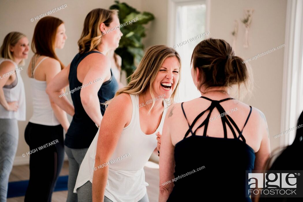 Stock Photo: Women at yoga retreat.