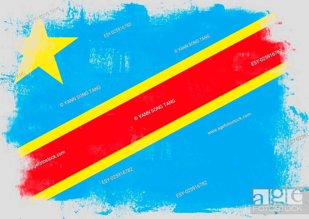 Stock Photo: Flag of Democratic Republic of the Congo painted with brush on solid background,.