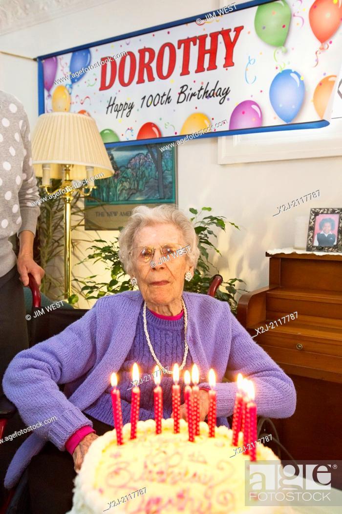 Stock Photo: Detroit, Michigan - Woman celebrates her 100th birthday.