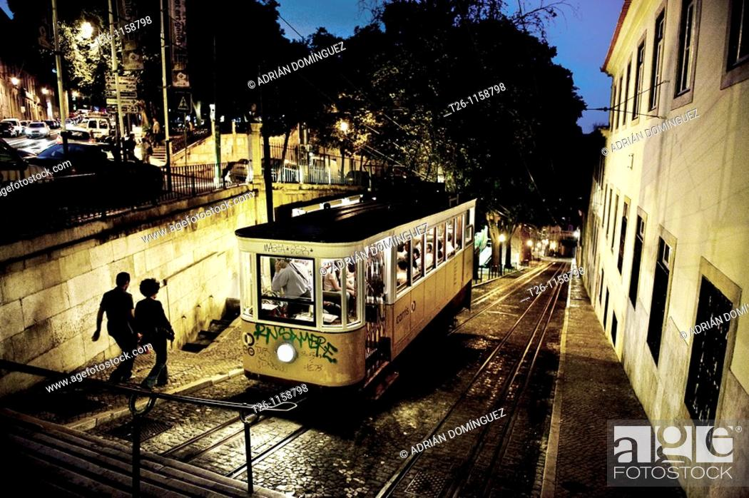 Stock Photo: night scene of uptown Lisbon, Portugal.