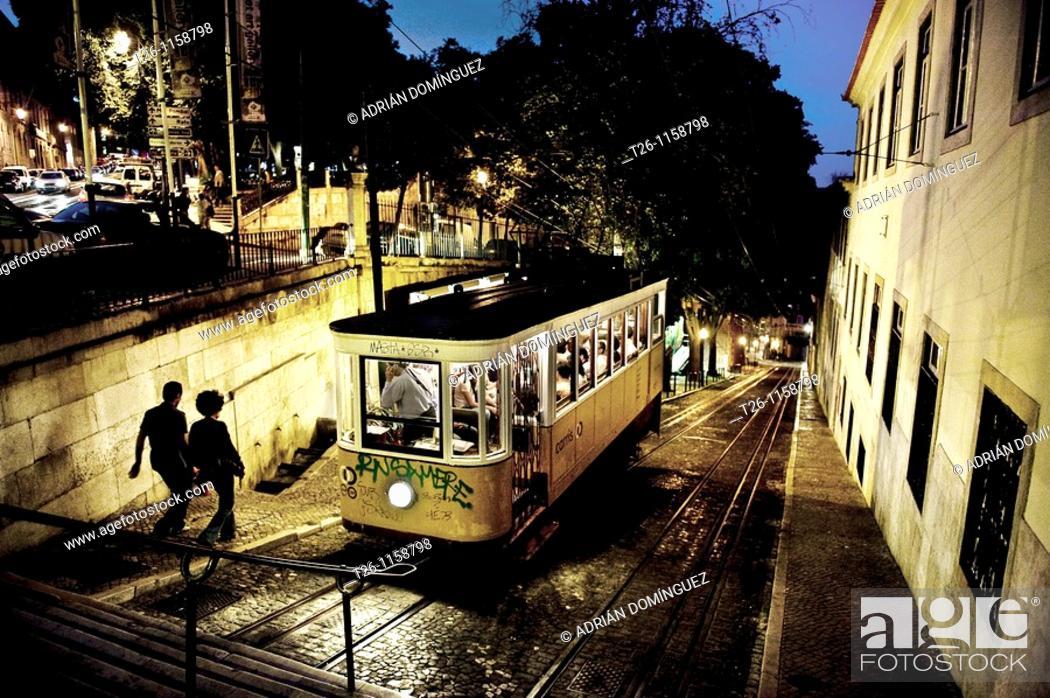 Stock Photo: night scene of uptown Lisbon, Portugal.