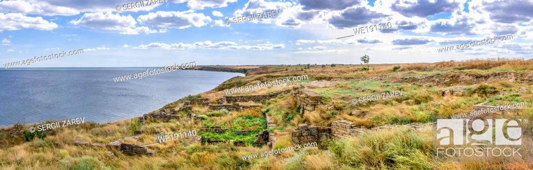 Stock Photo: Ancient greek colony Olbia on the banks of the Southern Bug River in Ukraine on a cloudy summer day. Hi-res panoramic photo.