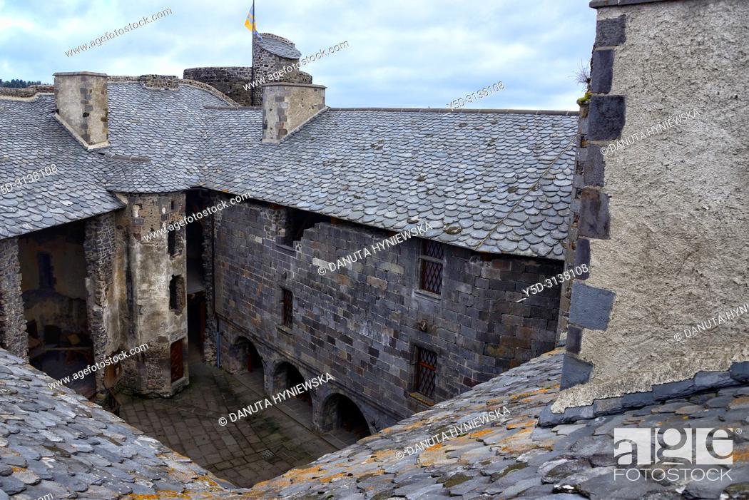 Stock Photo: Internal yard of 12th century Château de Murol - Monument Historique since 1889 what helped to save it, Route Historique des Châteaux d'Auvergne.