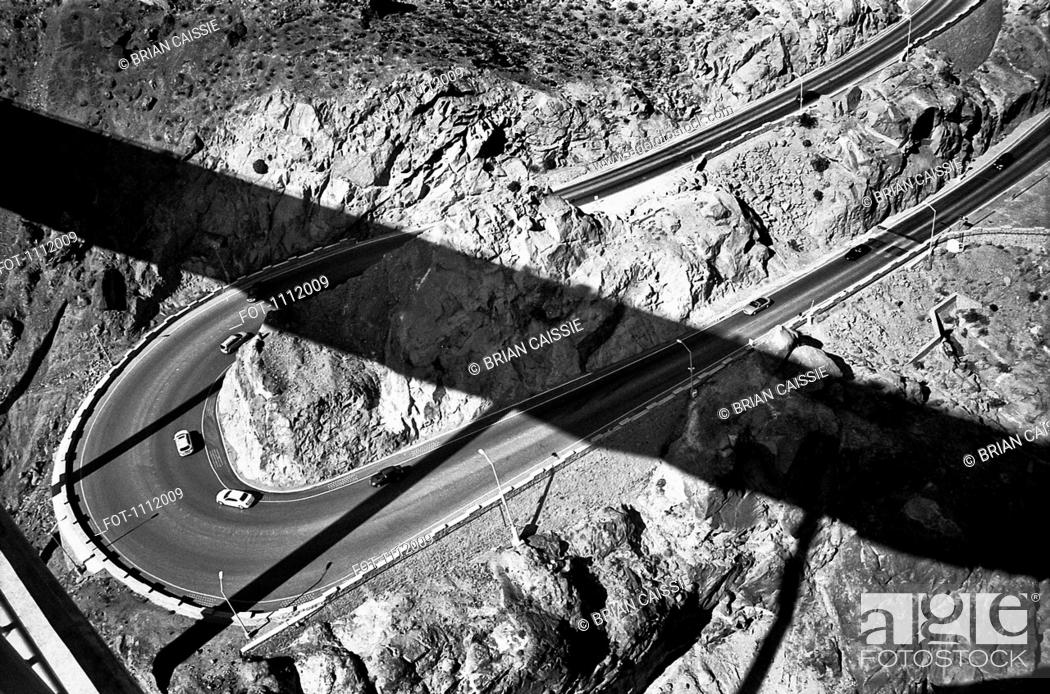 Stock Photo: Cars on a two lane highway, high angle view.