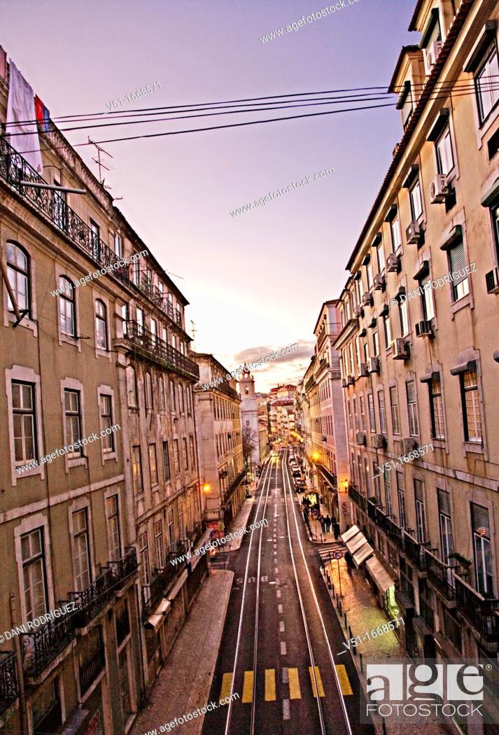 Stock Photo: Avenue in Lisbon, Portugal.