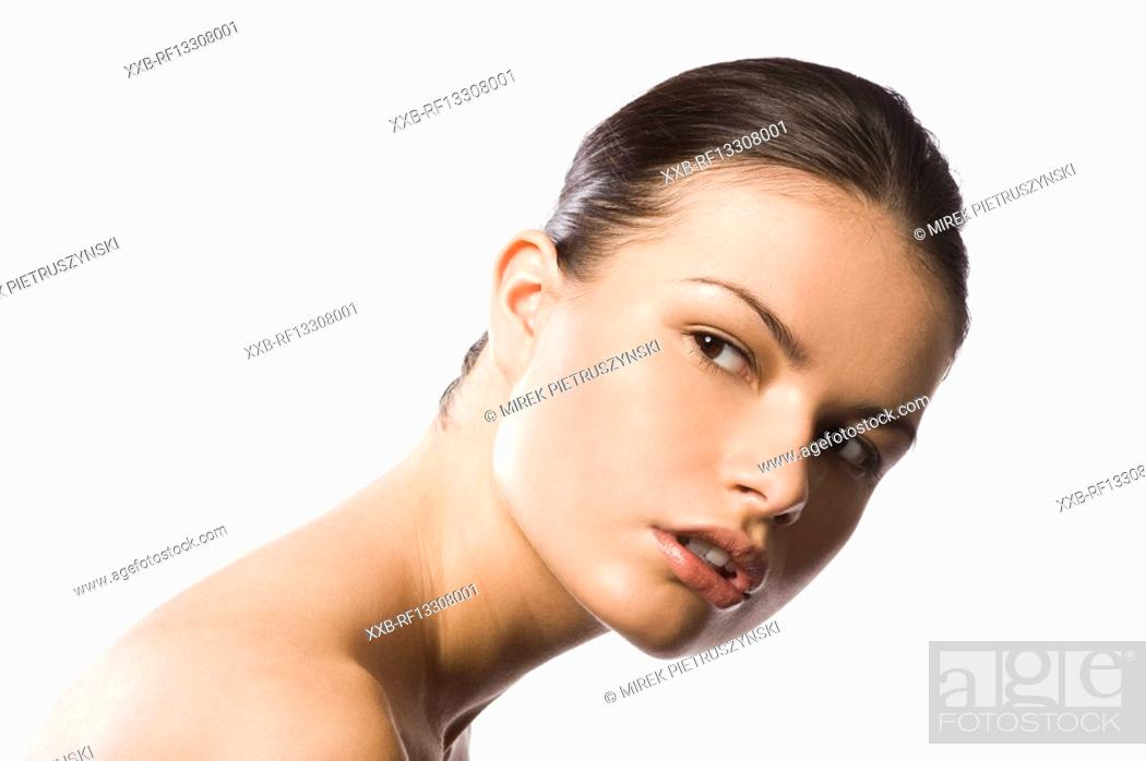 Stock Photo: portrait of beautiful young woman.