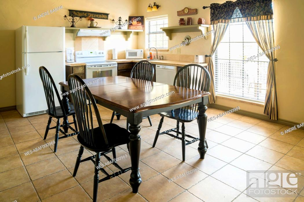 Stock Photo: USA, Texas, Interior of rustic style home.
