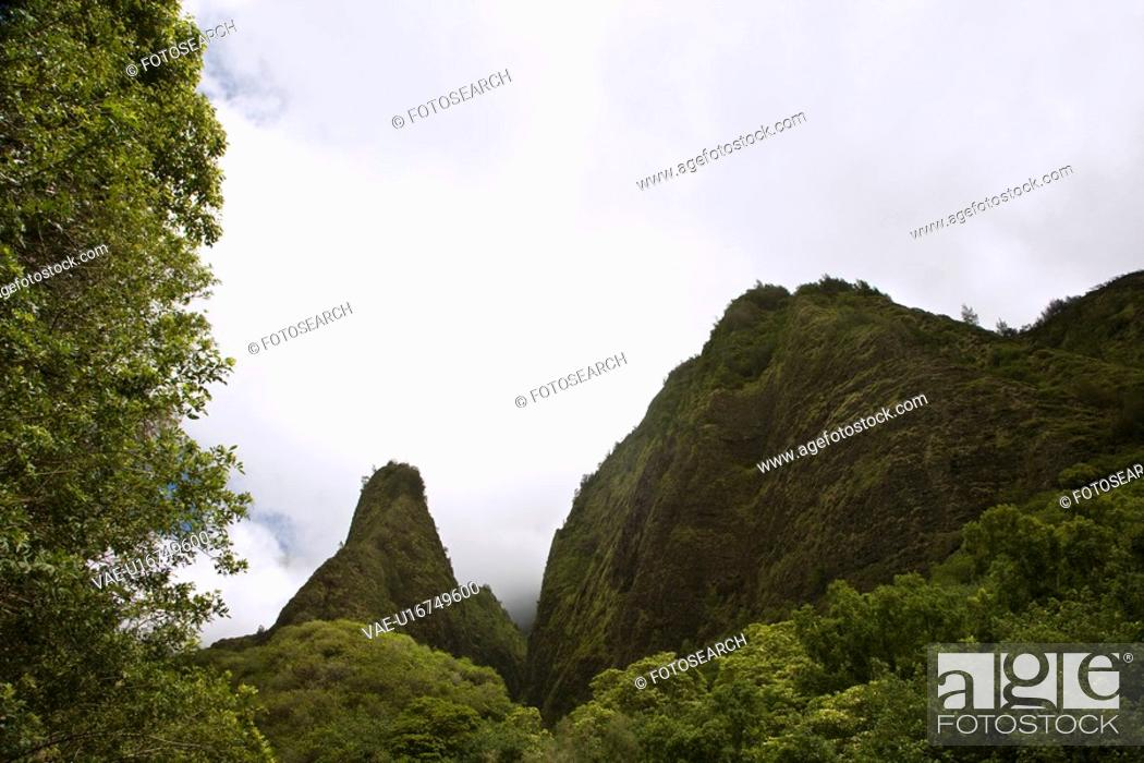 Stock Photo: Maui, Hawaii mountain landscape with clouds.